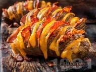 Рецепта Пълнени картофи ветрило във фолио с бекон и сирене чедър на фурна